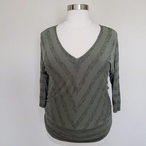 Knox Rose Size XXL Olive Army Green Top V-Neck
